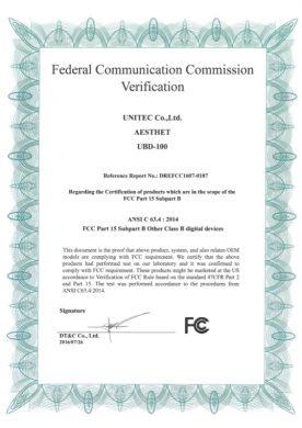FCC認証書