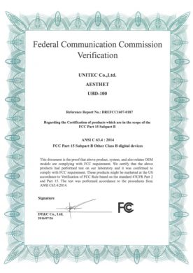 FCC认证书